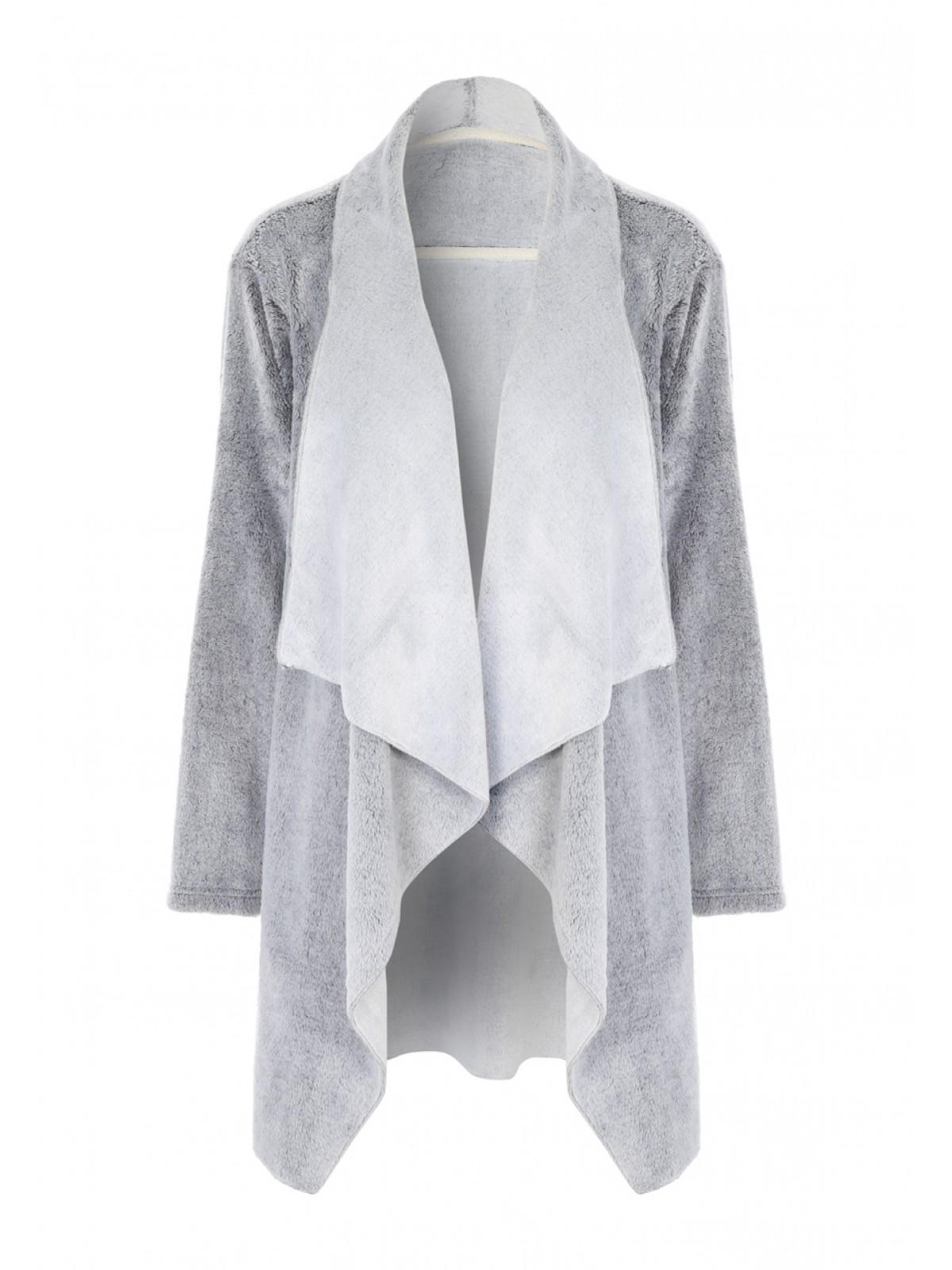 Womens Grey Fleece Waterfall Loungewear Cardigan | Peacocks