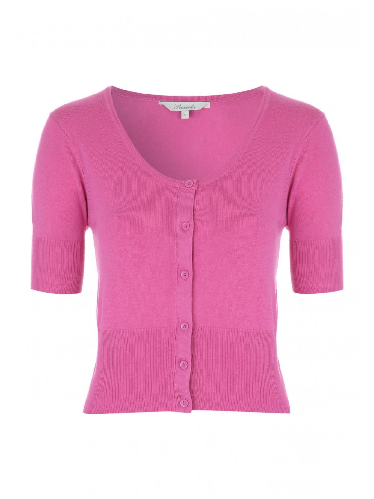 Womens Pink Basic Cropped Cardigan | Peacocks