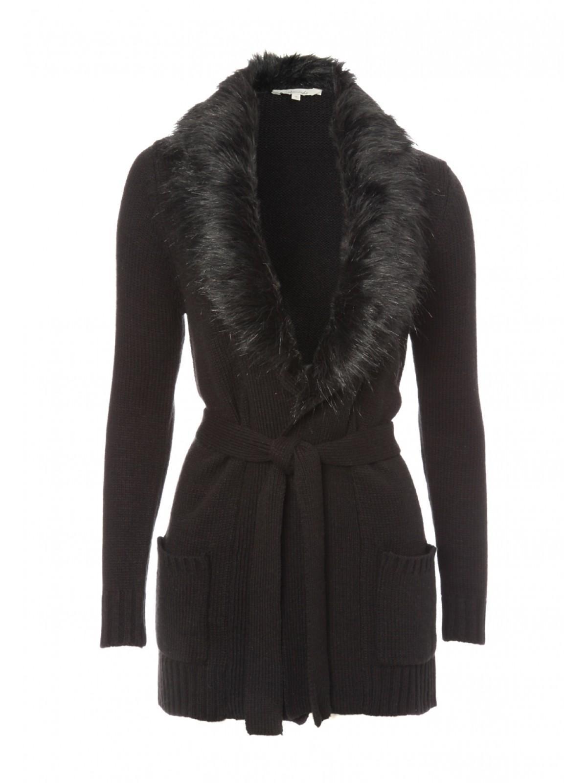 Womens Faux Fur Collar Cardigan | Peacocks