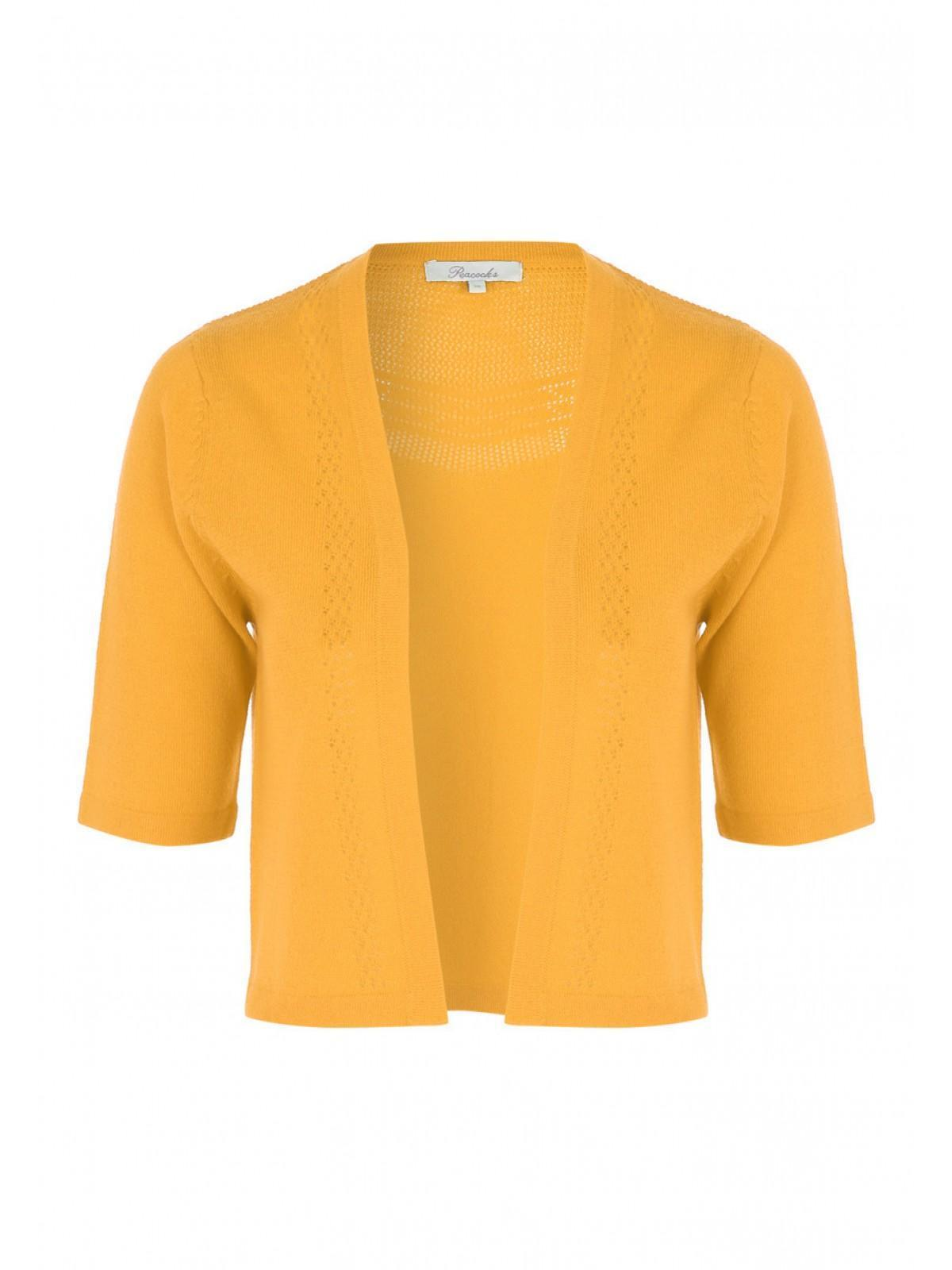 Womens Mustard Summer Cropped Cardigan | Peacocks