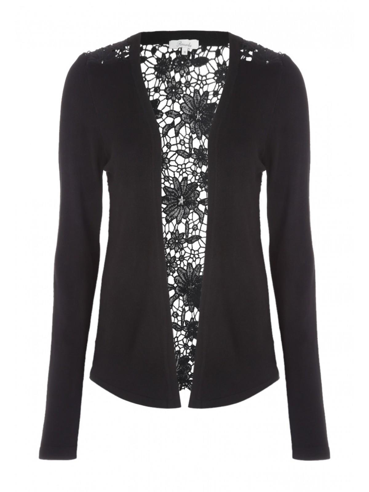 Womens Black Lace Back Cardigan | Peacocks