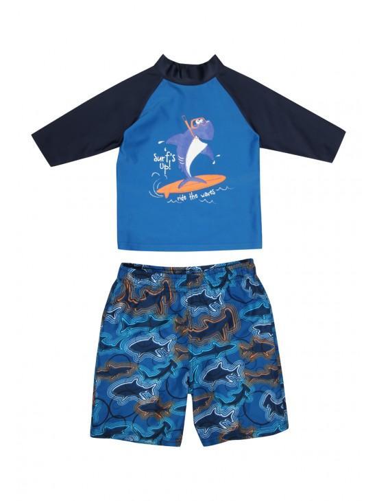 Younger Boys Shark Rash Vest Boardshort Set