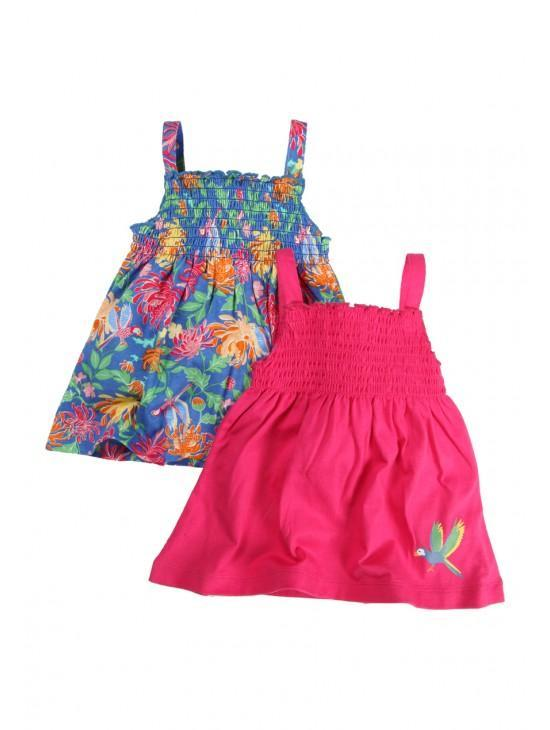 Younger Girls 2 Pack Sheared Vest Tops