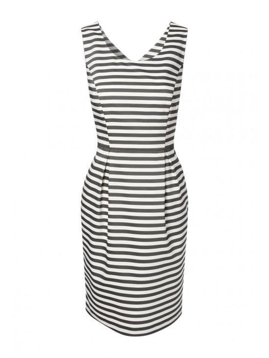 Womens Structured Stripe Shift Dress