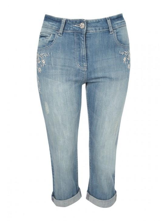Womens Embroided Cropped Jean
