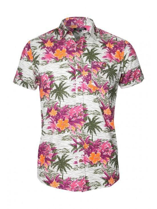 Mens short sleeve floral hawaiian shirt peacocks for Mens short sleeve floral shirt