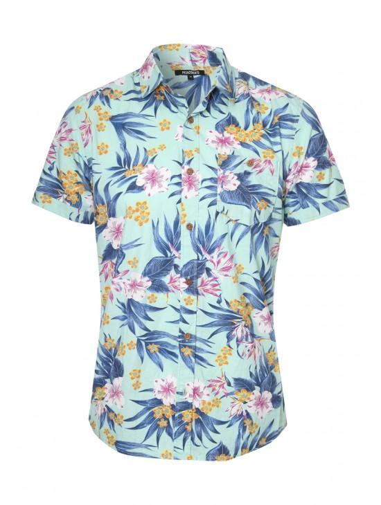Mens Short Sleeve Floral Print Shirt