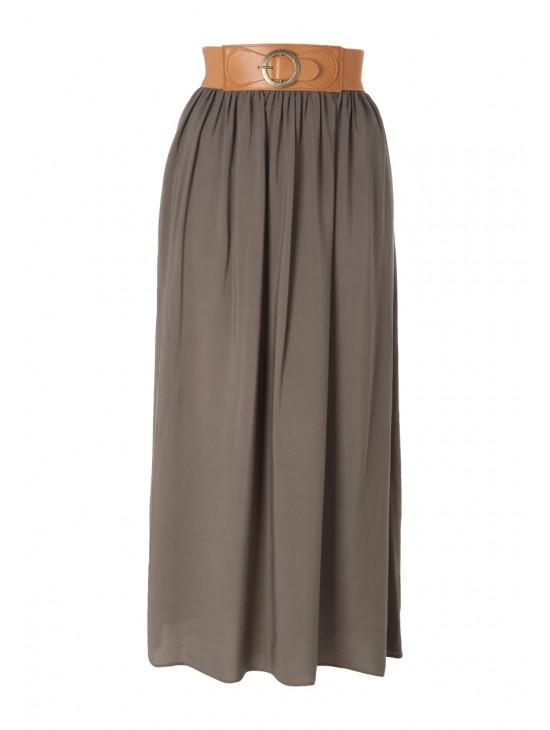 Womens Belted Maxi Skirt