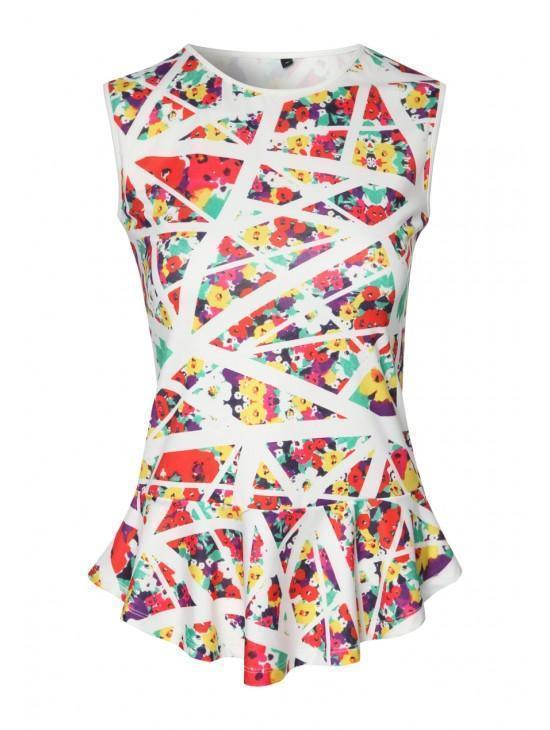 Womens Tropical Print Peplum Skirt
