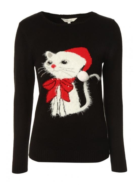 Opt for fashionable Christmas jumpers this season with this women's cat Christmas jumper. This fluffy knit features an adorable Christmas cat on the front with a sequin bow, that's perfect to wear on Christmas .