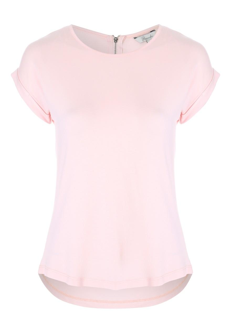 Womens Pink Zip Back T Shirt | Peacocks