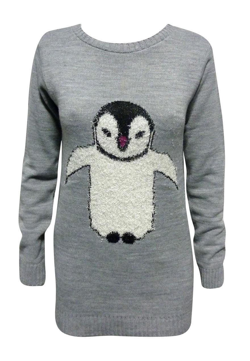 Delightful penguin embellished jumper by C Wonder at QVC. A soft grey jumper with red striped Detail on the neckline, hem and cuffs- featuring a large penguin on one side with red sparkle rhinestone embellishment on his dickie bow and dipped hemline.