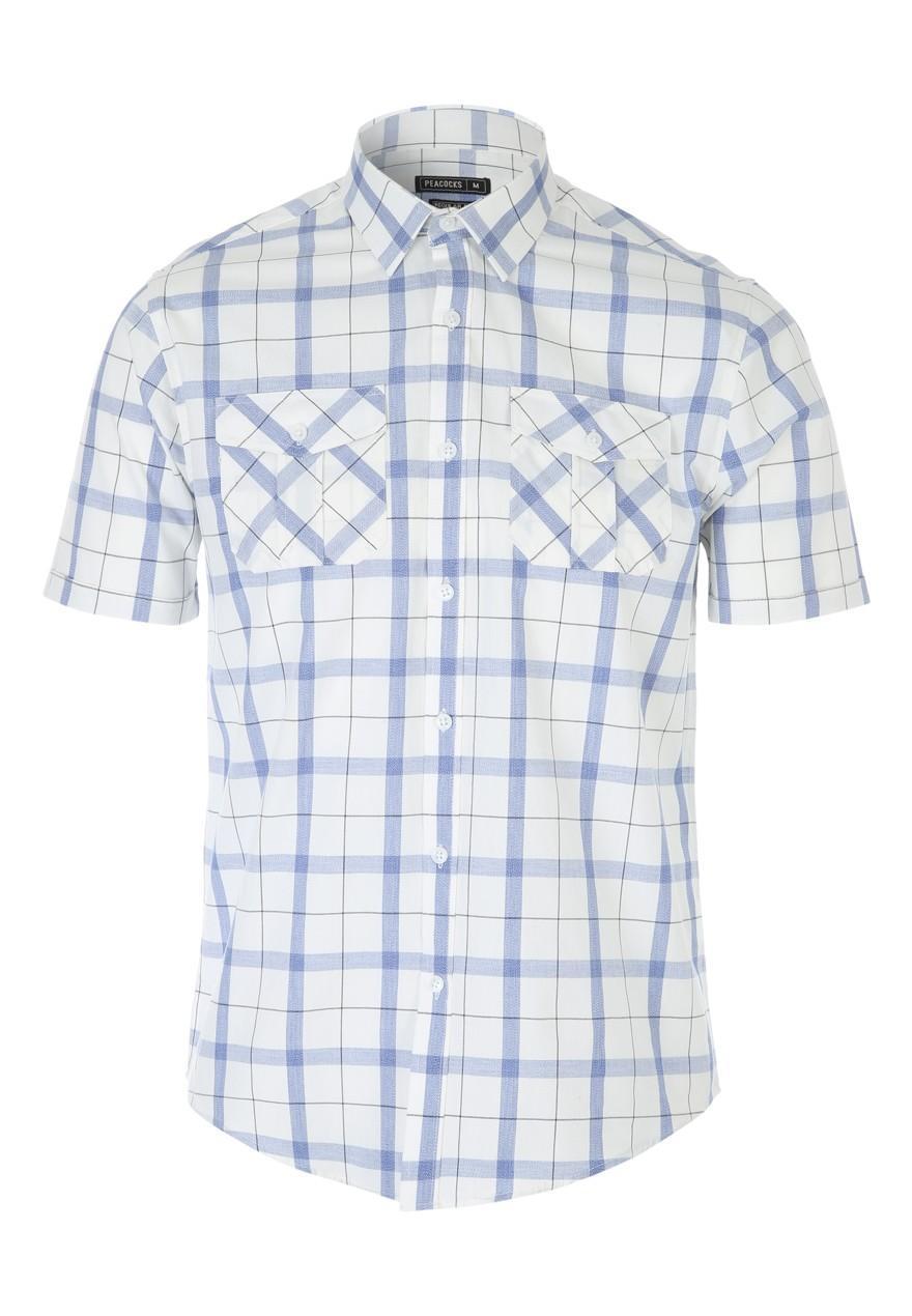 Mens light blue short sleeve check shirt peacocks for Light blue short sleeve shirt mens