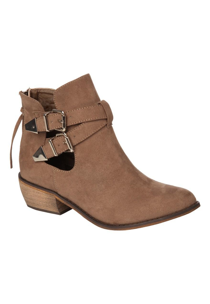 womens cut out ankle boot peacocks