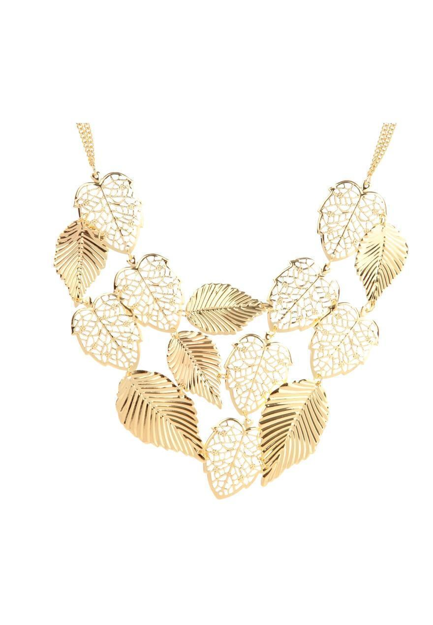 Peacocks gold leaf statement necklace