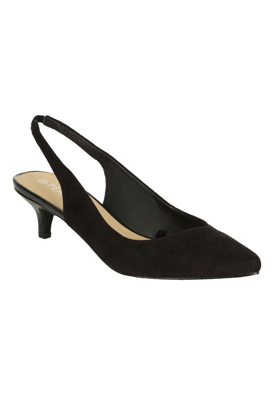 Black dress kitten heel - Womens Kitten Heel Slingback Shoes Peacocks