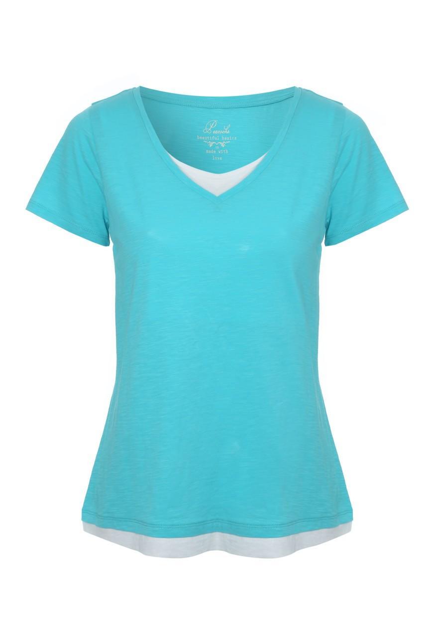Women's Double Layer V Neck T Shirt