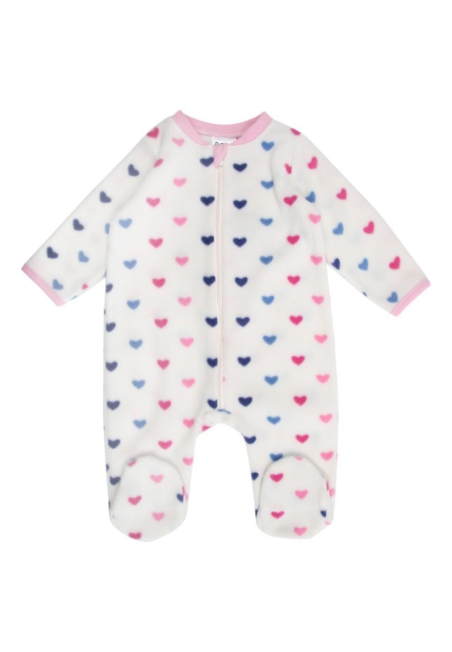 Pretty baby girls fleece style sleepsuit from early days range at Primark and to fit mths. Pink colour with heart print across it with cute bunny design. Has zip fastening Worn but still in good.