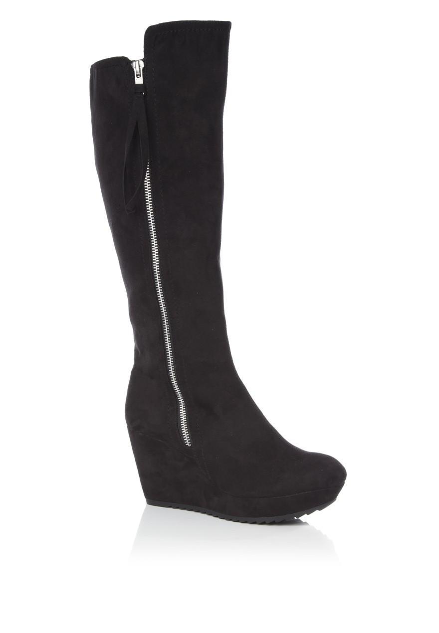 womens high leg wedge boots peacocks