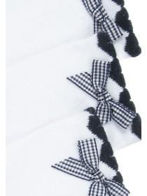 Girls 3pk White Bow Socks