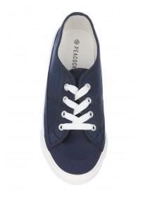 Womens Dark Blue Laceup Casual Trainers
