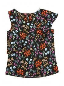 Older Girls Black Asymmetric Floral Frill Top