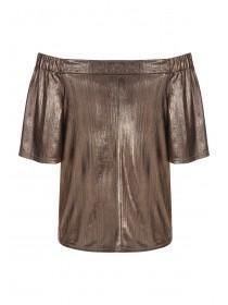 Womens ENVY Metallic Crinkle Bardot Top