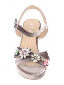 Womens Grey Floral Strap Platform Heels