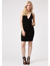Jane Norman Black Ruched Stray Back Dress