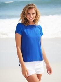 Womens Dark Blue Woven Front T-Shirt