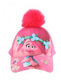 Older Girls Pink Trolls Pom-Pom Cap