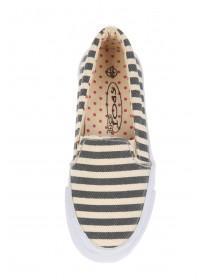 Girls Blue Striped Canvas Skater Shoe