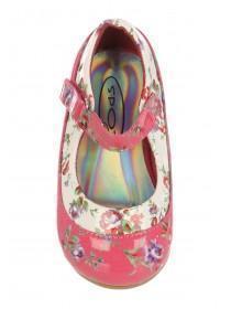 Girls Fuchsia Floral Ballerina Shoe