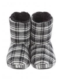 Boys Grey Check Slipper Boots