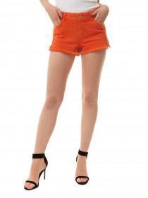 Jane Norman Orange Crochet Trim Shorts