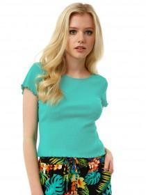 Jane Norman Green Lettuce Hem T-Shirt