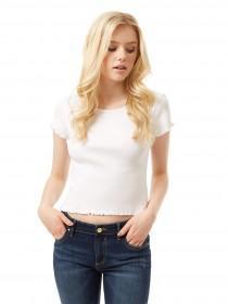 Jane Norman White Lettuce Hem T-Shirt