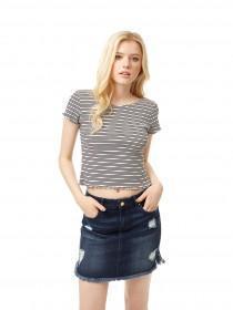 Jane Norman Monochrome Stripe T-Shirt