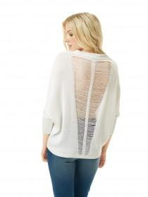 Jane Norman White Ladder Detail Batwing Jumper