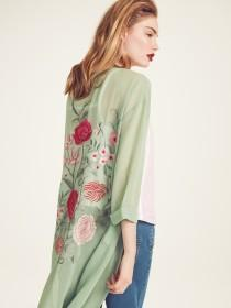 Womens Green Embroidered Back Kimono