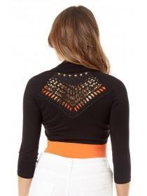 Jane Norman Black Crochet Back Shrug