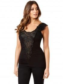 Jane Norman Black Ruched Brocade Top