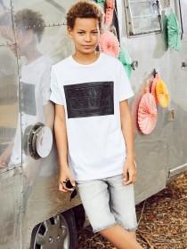 Older Boys White Shiny Embossed T-Shirt