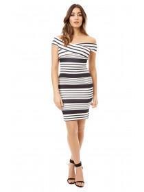 Jane Norman Black and White Stripe Bardot Dress