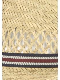 Mens Brown Open Weave Band Panama Ha