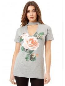 Jane Norman Grey Choker Printed T-Shirt