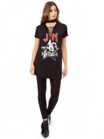 Jane Norman Black Printed Lace Up Longline T-Shirt