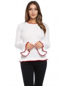 Jane Norman White Ribbed Contrast Frill Jumper
