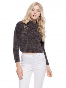 Jane Norman Charcoal Chunky Knit Crop Jumper
