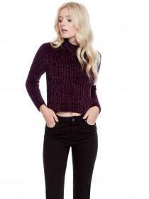 Jane Norman Purple Chunky Knit Crop Jumper